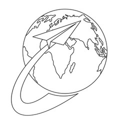 around the world icon outline style vector image