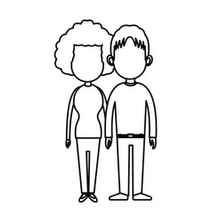 couple romantic lovely holding hands line vector image