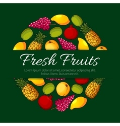 Fresh fruits product poster design vector