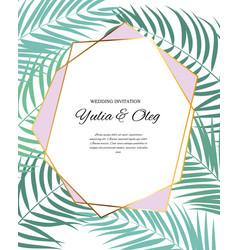 beautifil wedding invitation with palm tree leaf vector image