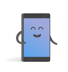 cute cartoon character phone with hands eyes and vector image vector image