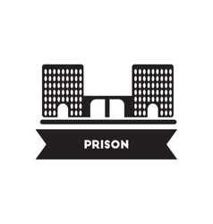 Flat icon in black and white style building prison vector