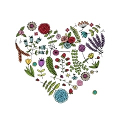 Floral heart shape for your design vector image