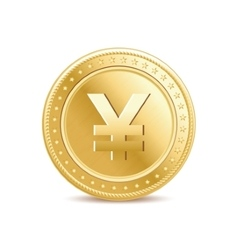 Golden isolated yen coin on the white background vector