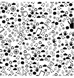 Pattern monochrome communication tech elements vector