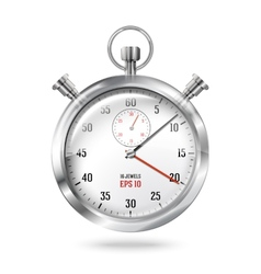 Silver bright stopwatch clock isolated on white vector image vector image