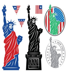 Statue Of Liberty and flags vector image