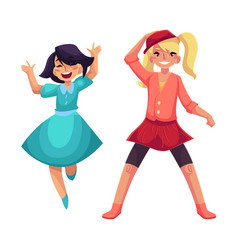 Two girls dancing at party blue dress skirt and vector