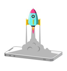 cellphone with rocket launch business startup vector image vector image
