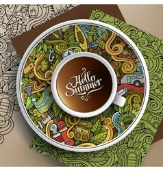 Cup of coffee camp doodle vector