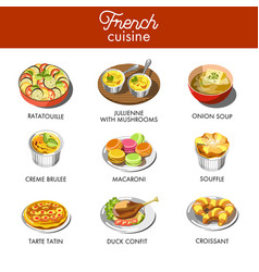 delicious french cuisine with most famous vector image