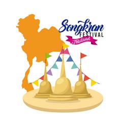 Songkran festival thailand temple flag garland map vector