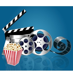 Background with popcorn and film strip vector