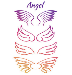 colorful elegant angel flying wings collection vector image vector image