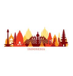 indonesia architecture landmarks skyline shape vector image vector image