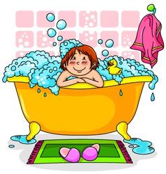 kid in the bath vector image