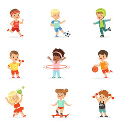 Small kids playing sportive games and enjoying vector