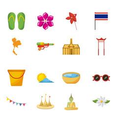 songkran thailand festival celebration icons vector image vector image
