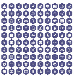 100 funny icons hexagon purple vector
