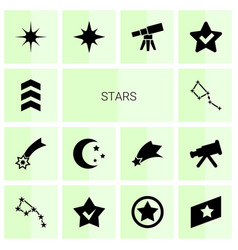 14 stars icons vector