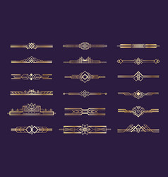 art deco set vintage 1920s golden ornament vector image
