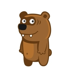 Bear Cartoon Style Funny Animal on White vector