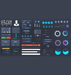 big set ui ux kit for web design vector image