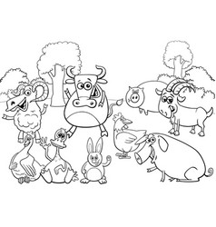 black and white cartoon farm animal characters vector image