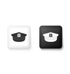 Black and white police cap with cockade icon vector