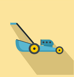 Blue lawn mower icon flat style vector