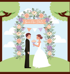 bride with bouquet and groom in arch flowers save vector image