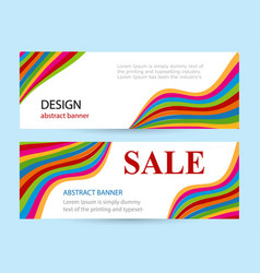 bright banners with color stripes on white vector image