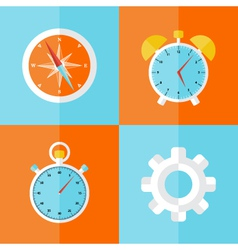 Business icons orange and blue set vector image