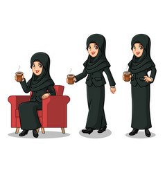 Businesswoman with veil making a break vector