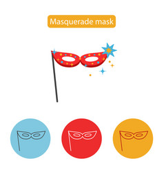 Carnival mask icon line icon flat sign vector