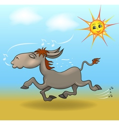 Cartoon a donkey is running in the sand vector