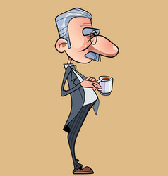 cartoon funny long nosed man in a tailcoat vector image
