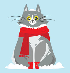 Cartoon portrait of a smiling cat in the snow vector