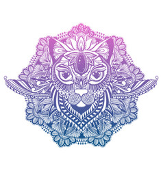Cat mystic and mandala tattoogradient pastel vector