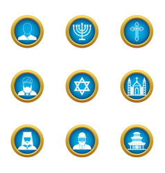 choice of religion icons set flat style vector image