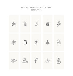 christmas instagram story highlight templates set vector image