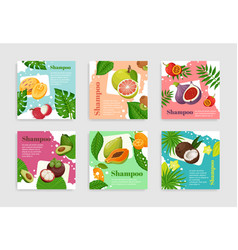 Collection fruits organic shampoo package label vector