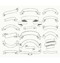 Collection of black hand drawn ribbons vector