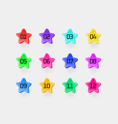 Color stars with digits inforgaphic bullets set vector