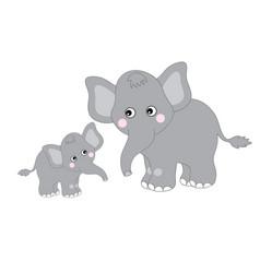 Cute cartoon elephants vector