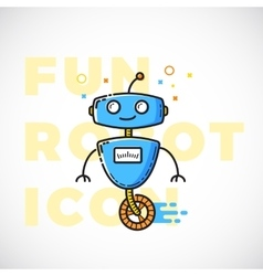 Cute Fun Robot Outline Flat Style vector