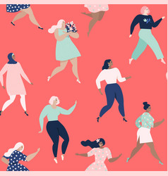 dancing women womens seamless pattern vector image