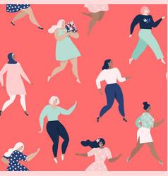 dancing women womens seamless pattern vector image
