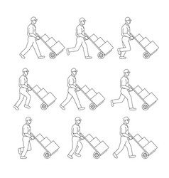 delivery worker pushing hand cart walk sequence vector image