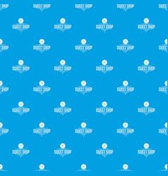 dessert shop pattern seamless blue vector image